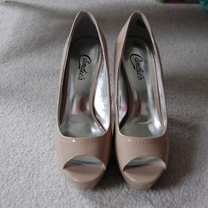 Candie's Patent Peeptoe Platform Heels